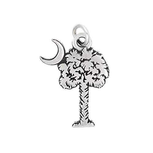 Sterling Silver Palmetto Tree Palm Tree with Crescent Moon Charm Pendant Jewelry Making Supply Pendant Bracelet DIY Crafting by Wholesale Charms