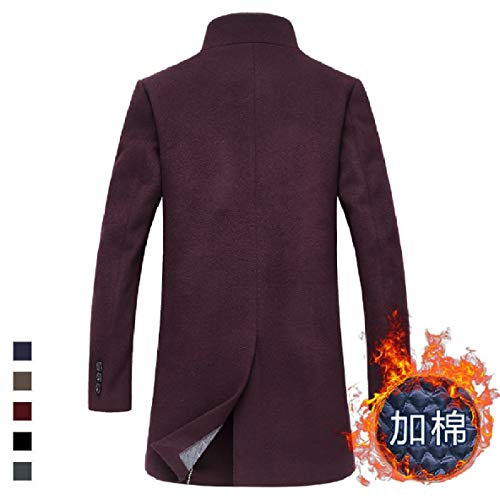 Thickening Stand Wine Md XINHEO Plus Cotton Outwear Long Mens Cardigan Collar Red Parka Ot5qPBqFw
