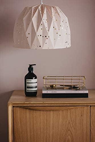 Tweelingen Modern Home Decor – Unique Origami Pendant Light Folding Paper Lampshade with Socket and Black Cord Powder Gold