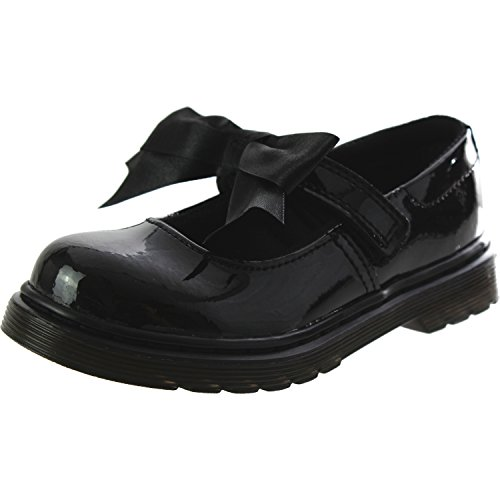 Dr. Martens Girl's Maccy II Dress Mary Jane Flats with Bow, Black Leather, 2 Little Kid M UK, 3 M for $<!--$74.95-->