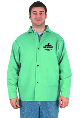 MCR Safety 39030X4 30-Inch Flame Resistant Cotton Fabric Welding Jacket with Inside Pocket, Green, 4X-Large by MCR Safety