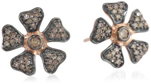 10k Rose Gold Brown Diamond Flower Earrings ( .25 cttw, H-I Color, I2-I3 Clarity)