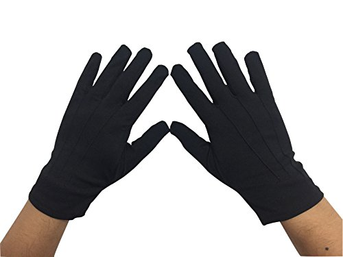 May & Co Police Formal Tuxedo Honor Guard Parade Nylon Cotton Gloves 9.5 inch (Black)