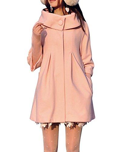 Melansay Women's Princess Wool Winter Coat With Detachable Knit Sleeves (Pink Coat)