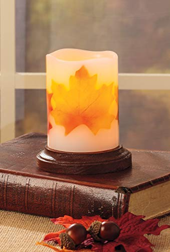 Unscented Realistic Flickering Flame Battery Operated LED 3x4 3x4 LITBRIGHT CANDLE FACTORY Authentic Candle Light for a Relaxing Off-White Beautiful Home; Real Wax Pillar with Fall Leaves