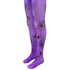 - 41l6ZBTRu8L - Purple Mid-Rise Spider Webs Halloween Children's Cosplay Costume Tights