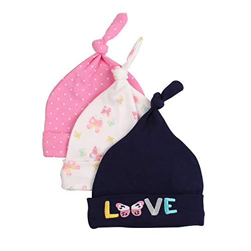 XIAOHAWANG Baby Girls Boys Adjustable Top Knotted Caps 3 Pack Newborn Cotton Hats Infant Baby Stretchy Beanies Cute Cartoon (Butterfly Pack of 3)