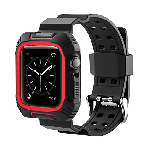 Plastic Link Band (MAIRUI Series 4 Watch Band with Case 44mm, Rugged Sport Replacement Protective Wristband for iWatch Series 4 (Black&Red))