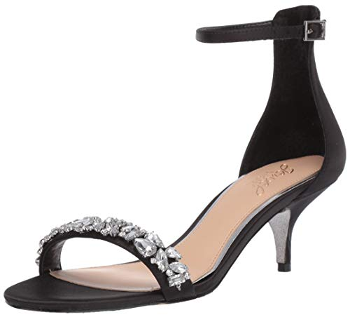 Badgley Mischka Jewel Women's Dash Heeled Sandal, Black Satin, 8.5 M US