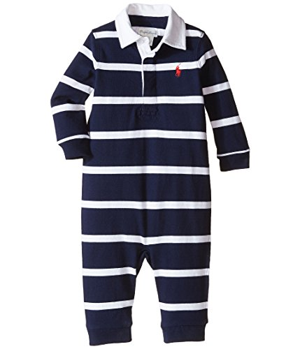 Ralph Lauren Baby Boys Rugby Stripe Coveralls Navy/White (3 Month)