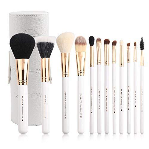 - Zoreya Travel Makeup Brush Set White 12pcs Makeup Brushes Premium Synthetic Hair Professional Foundation Powder Contour Blush Cosmetic Eye Brush Sets With Holder For Mother's Day Gifts