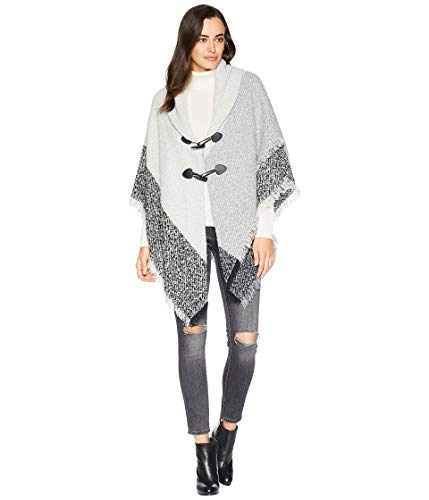 - Collection XIIX Women's Plaid Boucle Toggle Shawl, grey, One Size