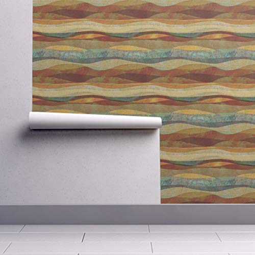 Peel-and-Stick Removable Wallpaper - Copper Sienna Brown Copper Sienna Brown Blue Copper Mountain by Wren Leyland - 24in x 60in Woven Textured Peel-and-Stick Removable Wallpaper Roll Blue Mountain Blue Textured Wallpaper