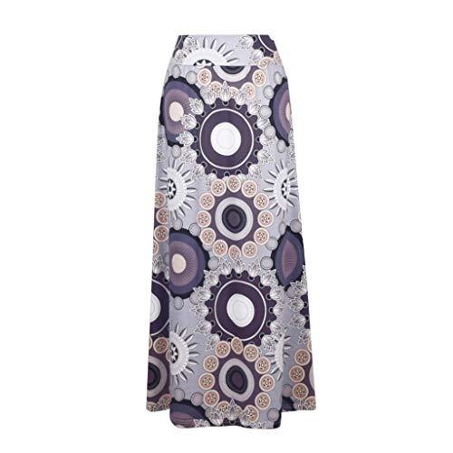 Thenxin Women's Bohemian Maxi Skirt Multicolored Print High Waist Fold-Over Stretchy Skirt(Khaki,XXL)