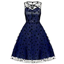 ACEVOG Women's Elegant Illusion Floral Lace Cap Sleeve Bridesmaid Prom Dress