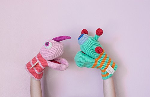 Handmade crochet organic cotton hand monster puppet pink