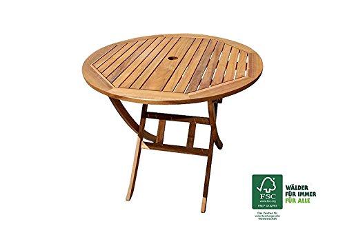 Xxs Akazie Holz Gartentisch Mit Schirmloch Rund Fsc 100