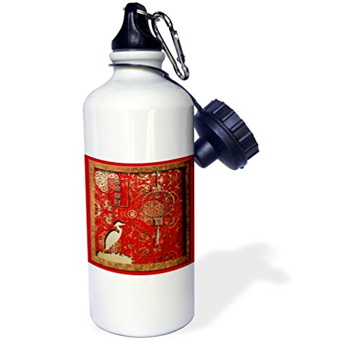 Crane Com Holiday - 3dRose wb_12349_1 Lantern and Crane May you have a Happy and Prosperous New Year in Chinese - Sports Water Bottle, 21 oz, White