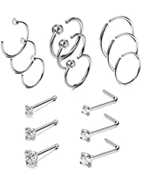 20G 4-15 Pcs Stainless Steel Nose Rings Studs L-Shape Piercing Body Jewelry 1.5mm 2mm 2.5mm 3mm