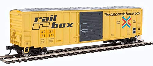 50' ACF EXTERIOR-POST BOXCAR - READY TO RUN -- SANTA FE 51275 (EX-RAILBOX, YELLOW, BLACK)