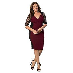 0d8b886cde5 Kiyonna Women s Plus Size Valentina Illusion Dress 2X Black Burgundy