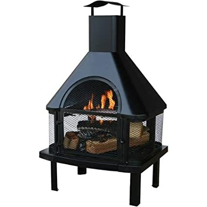 Amazon Com Uniflame Outdoor Wood Burning Fire Place Black
