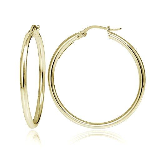 Hoops & Loops Flash Plated Gold Sterling Silver 2mm Polished Round Hoop Earrings, 40mm