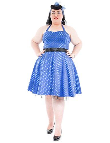 blanc De Dress White H Punteado amp;r Bleu Vestido Blue Small London vxwpUn1q
