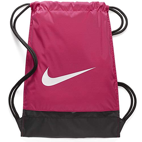 Nike Brasilia Training Gymsack, Drawstring Backpack with Zippered Sides, Water-Resistant Bag, Rush Pink/Black/White]()