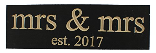 Mrs. & Mrs. Est 2017 Lesbian Wedding Decoration Vintage CARVED Wood Sign Handmade Gift or NewlyWed Wall Decor -- SOLID RECLAIMED WOOD - UNIQUE WEDDING GIFT (Black - CARVED)) (Mrs. & Mrs. 2017)