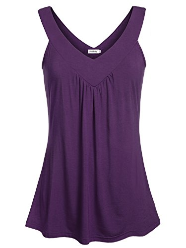 Ninedaily Women Comfy Sleeveless Tunic Top Pleated V Neck Tanks Vest Summer Purple