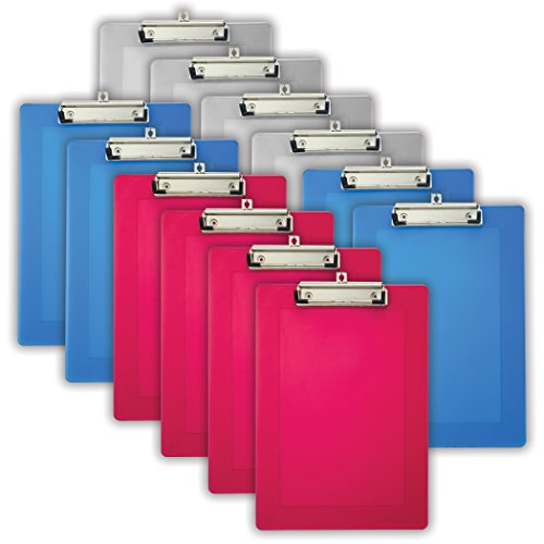 Officemate Translucent Plastic Clipboard, Letter Size, 4 Blue, 4 Red and 4 Clear, 12 Total (83037) ()