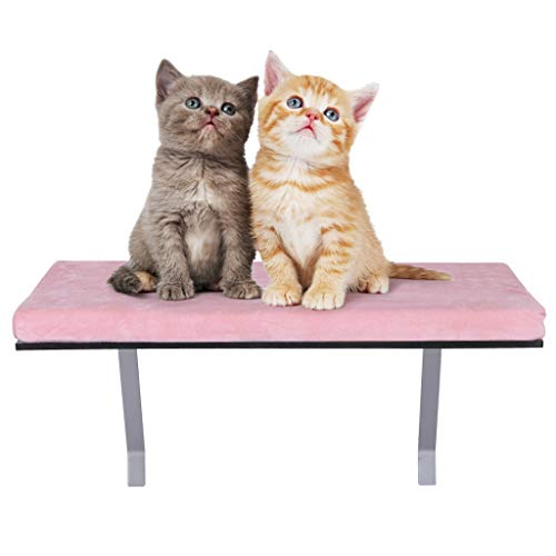 Mosunx Cat Window Perch, Cat Rest for Window, Easy Set-up DIY Kitty Sill, Mounted Shelf Bed for Pets, House Pets Furniture, Sturdy Couch (Pink, 23.6 x 11.8 x 11.4 inches (60x30x29cm))