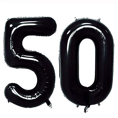 AZOWA 40'' Big Number 50 Balloons Black Jumbo Foil Mylar Number Balloons for 50 Birthday Party Anniversary Celebrate Party Decorations (Black, 40'')