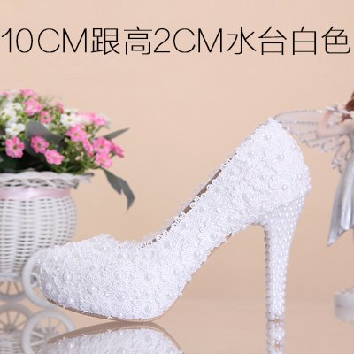 Wedding Sandals Bridal Waterproof Shoes Red Pearl Shoes Women'S Toe 5 Round Flowers Heeled High Shoes Lace Heel 10Cm Pink VIVIOO White Prom Color qZC5SwE