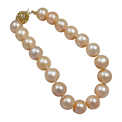 (Orien Jewelry Pink Freshwater Cultured Pearl Bracelet AA 10mm Pink Freshwater Bracelets for Women Great Gift)
