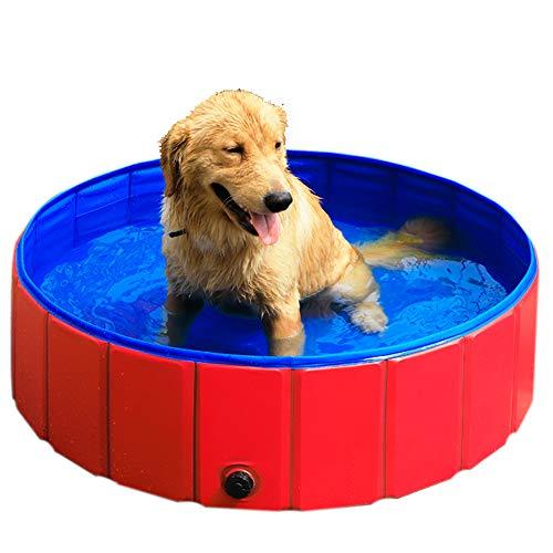 (GRULLIN Pet Swimming Pool Portable Foldable Pool Dogs Cats Bathing Tub Bathtub Wash Tub Water Pond Pool (48by12inch))