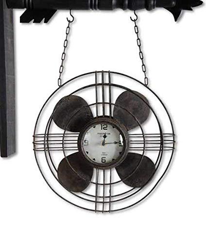 K&K Interiors Gray Metal Vintage Fan with Clock Arrow Replacement (Arrow Clock)