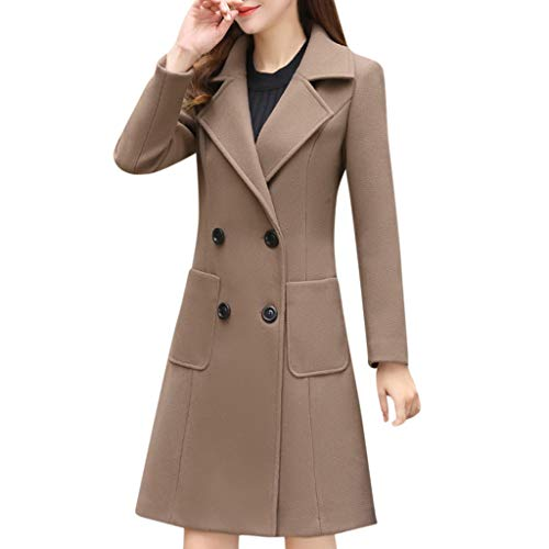 - Huazi2 Women's Long Sleeve Lapel Knee-length Coat,Ladies Fashion Double Breasted Elegant Solid Jacket Outwear