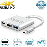 USB C to HDMI Multiport Adapter (4K@60Hz), Hamkot 3in1 Type-C (Thunderbolt 3 Compatible) to HDMI Video Converter with USB 3.0 Port & USB C Recharging Port for MacBook Series Chromebook Pixel and More