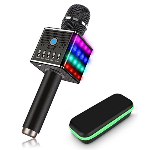 Portable Wireless Karaoke Microphone with Disco LED Lights,H8 Mini Handheld Karaoke Mic Built in Bluetooth Speakers for Party Singing,Kids,Home KTV by AUTELL
