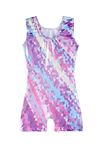 girls gymnastics leotards with shorts size 6-7 years old purple pinkish violet pink blue multicolored colorful biketard shiny outfits