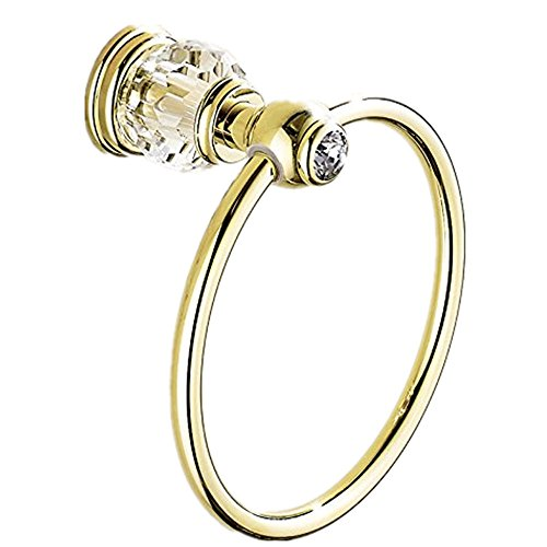 AUSWIND European Gold Polished Crystal Towel Rings Brass Wall Mounted with False Clear Crystal Decorate Bathroom Accessories