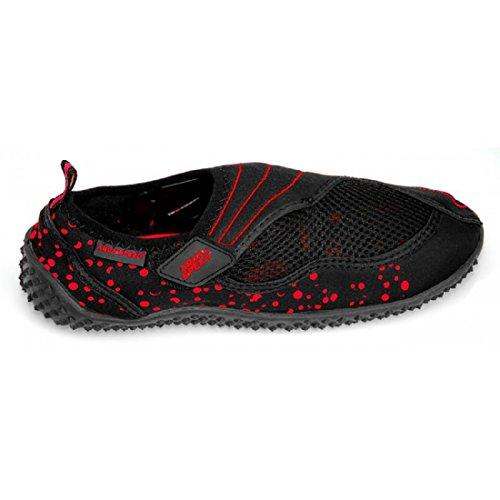 Aqua-Speed BEACH GIRL Chaussures d'Aqua (Femme Natation Plongée Kayak Piscine) Noir / Rouge - 15.2 3KCg5Pxe7O