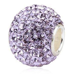 Andante-Stones perle cristal Argent 925 original et massif VIOLETTE brillante pendentif pour chaîne ou élément pour bracelet + Étui en organza
