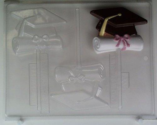 Cap & ribbon-tied diploma shape G006 Graduation Chocolate Candy Mold