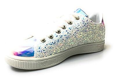 Forever Link Women's Glitter Fashion Sneakers (6, White Glitter-1)