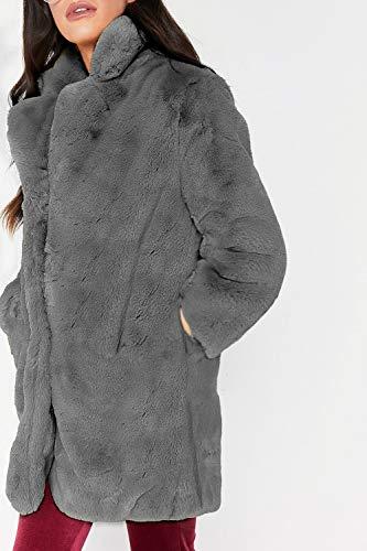 Casual Joven Manga Mujeres Sólidos Elegantes Outerwear Abrigo Sintética Fashion Chaqueta Casuales Piel Anchas Espesar Colores Moda De Mujer Termica Larga Gris HYqvaOAA