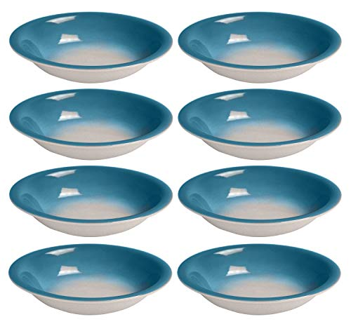 Bestone Salad Bowl Set of 8,Porcelain 20 Ounce,Blue