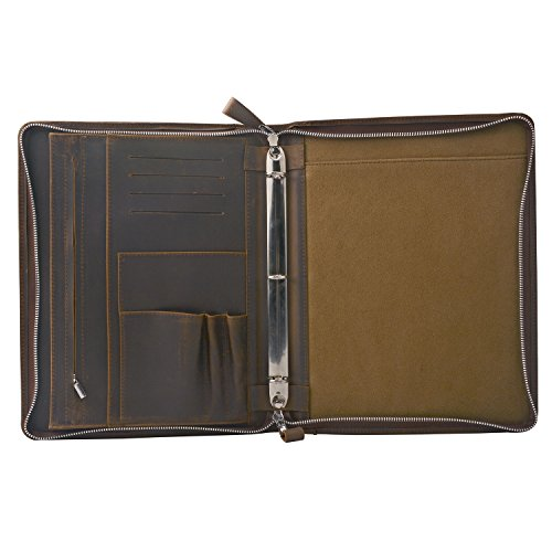 Rustic Leather Padfolio With 3-Ring Binder For Letter A4